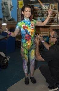 Aussie artist, Wayne Harrison body painting.