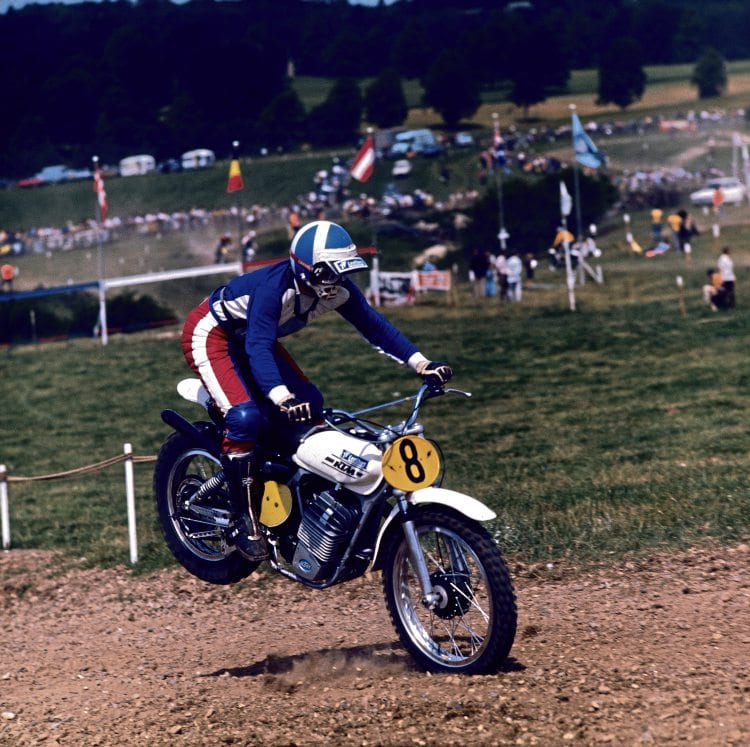 Jim Aird riding a 360 KTM at Newbury Scramble mid 1974