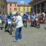 Riders 'coming under starter's orders' in the Piazza Gramsci.