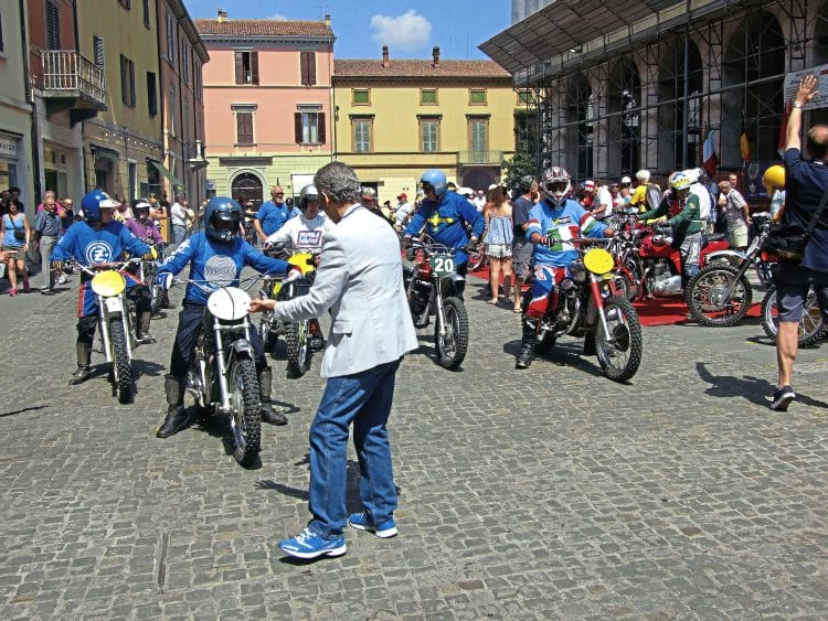 Riders 'coming under starter's orders' in the Piazza Gramsci.