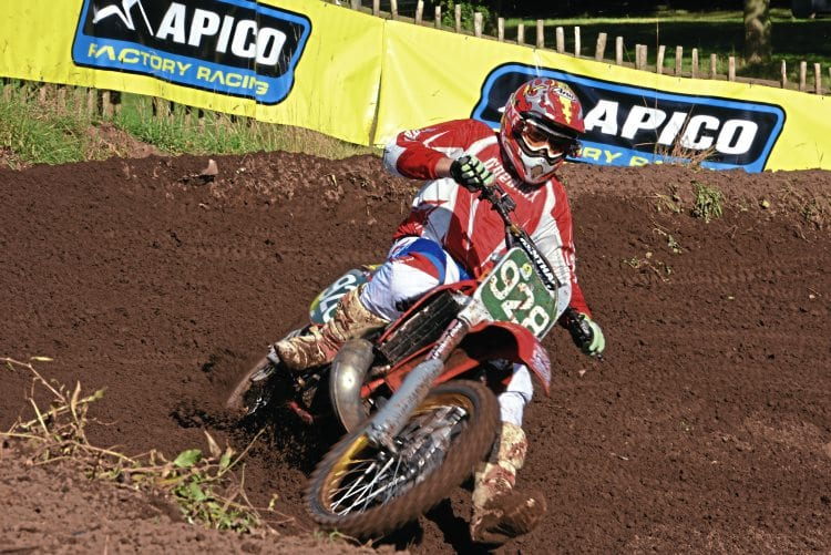 One of the Legends Evo riders, Honda-mounted Rick Du Feu powers through the berm.