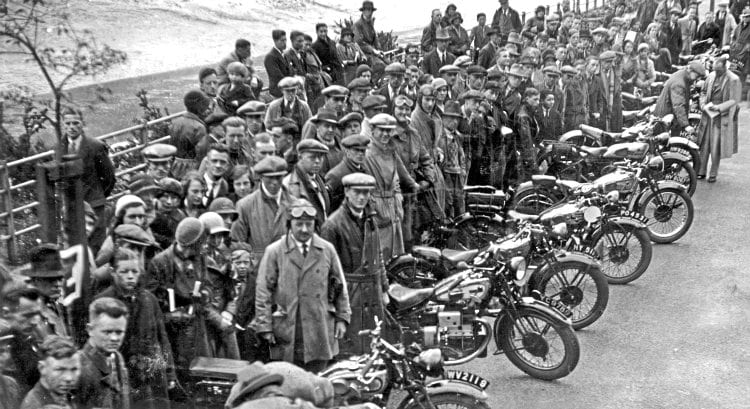 Motorcycle are lined up, with owners and onlookers behind, for the Bristol Motorcycle rally of 1933. Image: MORTONS ARCHIVE