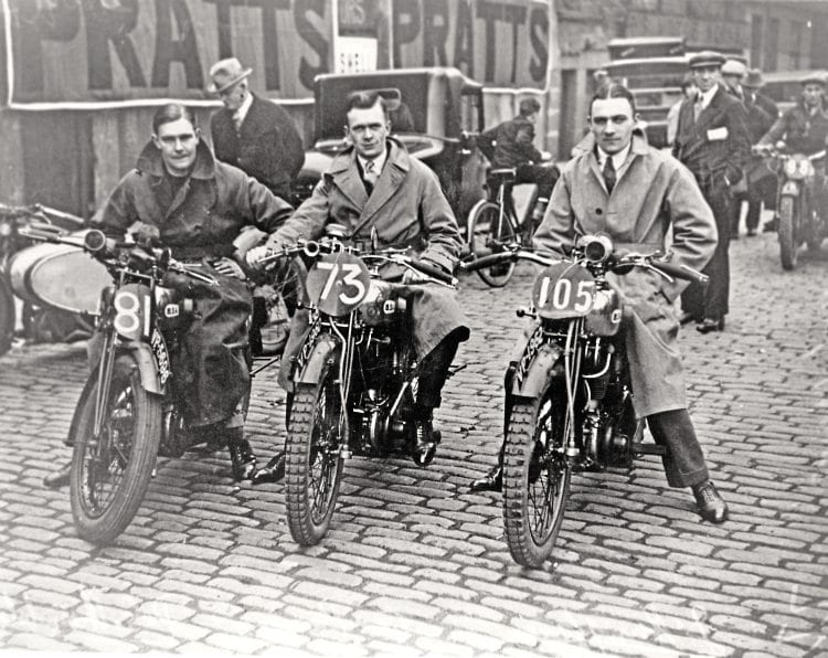 Pictured from left, Peter Chamberlain, Bert Perrigo and John Humphries – the 1929 BSA Scottish Six Days Trails team.