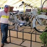 Russel Taschner stands proudly alongside his 1913 Clyno which collected a host of awards at the recent 1000 Bike Show in Germiston. Among the awards were Best Bike on Show, Best Veteran and Ladies' Choice.