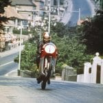 Ago's leap' one of the most famous Agostini images. 1970 Isle of Man Senior TT (500cc MV3).