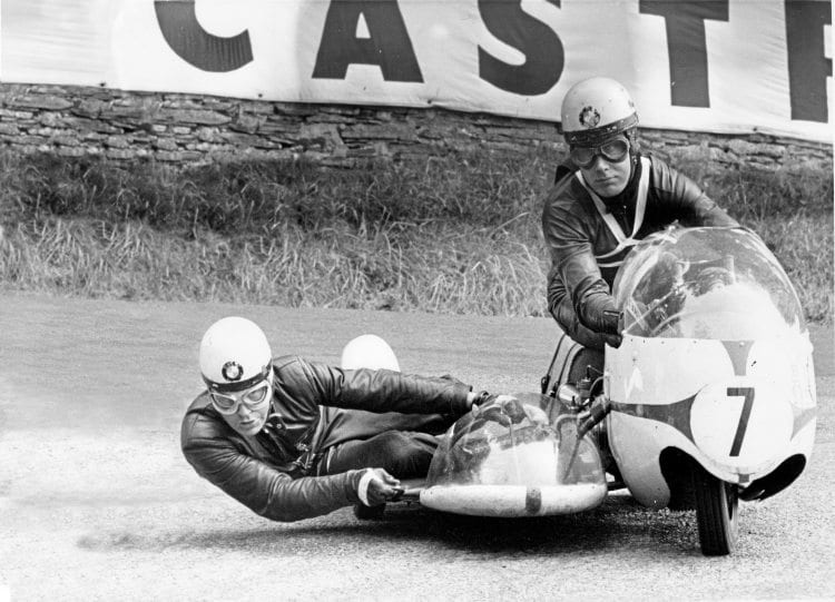 News from the Island 1960s style. - Max Duebel and Emil Hoemer head for sidecar victory in the 1965TT.