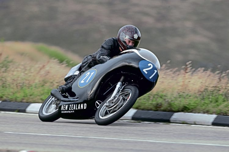 TT course veteran Bill Swallow presses on aboard the Eldee Velocette.