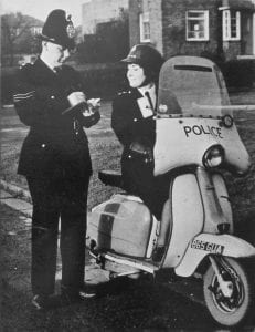 Sheila poses with her Lambretta back in the day