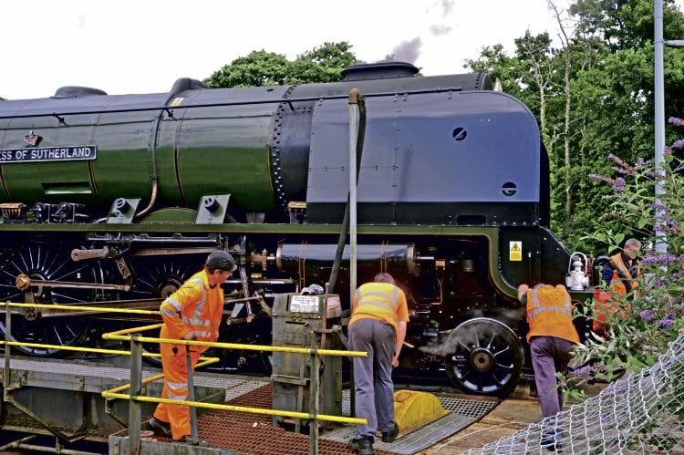 The Duchess is a tight fit on St Blazey turntable. CLASSIC TRACTION