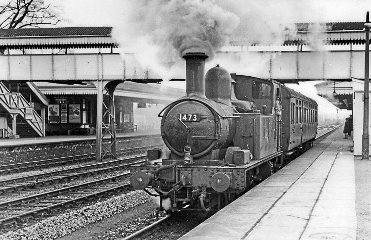 Tanks for the memory: Ex-GWR 0-4-2T No. 1473 creates a smokescreen at Princes Risborough with the 2.25pm Aylesbury-High Wycombe autotrain on April 3, 1960. A charity railtour on October 1 will be the first charter to access the Chinnor branch from the station by way of a new link with the national network. NORMAN PREEDY