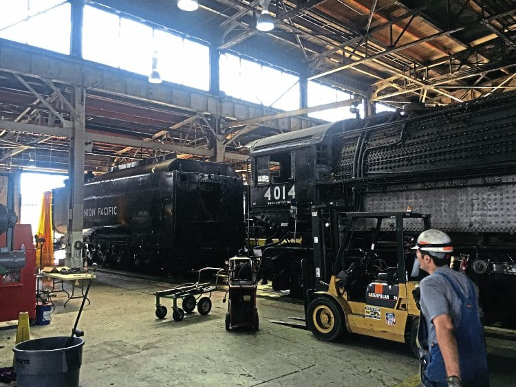 No. 4014 in the Union Pacific steam shop in Cheyenne, Wyoming, in August, after the locomotive and tender had been separated. UP