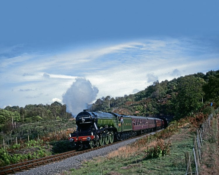 Before it regained its German style smoke deflectors in preservation, Flying Scotsman as LNER No. 4472 emerges from Foley Park tunnel on the Severn Valley Railway on October 14, 1990. BRIAN SHARPE