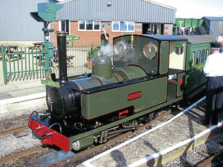 John Uphill's 0-4-2T No. 8 Faith, awaits departure from platform 2 at Common Lane with the 10.30am 'Pines Express' on August 29. MIKE LUCAS