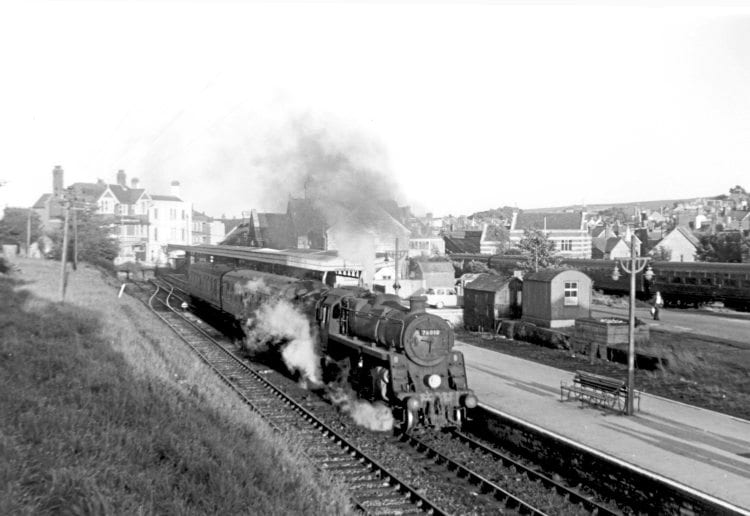 Left: BR Standard 4MT 2-6-0 No. 76010 departs Swanage on Sunday, September 4, 1966. TONY TROOD, COURTESY ANDREW PM WRIGHT COLLECTION