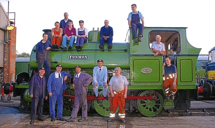 All hands on deck: Members of Spa Valley Railway's locomotive department, where vacancies exist for a variety of volunteer roles, with No. 1636 Fonmon, built by Peckett & Sons in 1924. Named after a medieval castle in the Vale of Glamorgan, the former cement works 0-6-0ST, originally preserved at the Avon Valley Railway, recently left the Spa Valley for the Ribble Steam Railway in Preston. DAVID STAINES