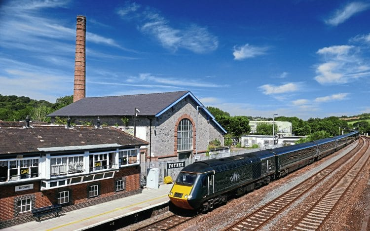 A Great Western Railway InterCity125 bound for Paddington pulls away from Totnes on August 23, with the listed Brunel atmospheric railway pumping station on the left. ROBIN JONES