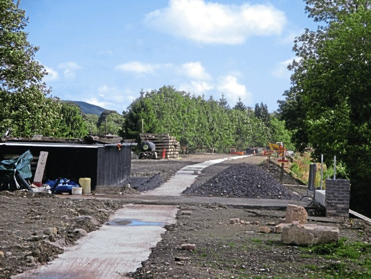 The concreting of the 175-yard trench for the footings of the new Corwen station have been completed. This is the view looking east on September 8. GEORGE JONES/LR