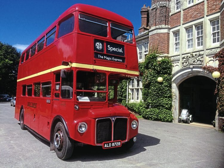 The South Devon Railway's routemaster bus outside Hannahs Seale Hayne campus at Newton Abbott on 'Magic Express' duty. SDR