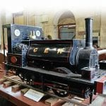 This 7¼ in gauge model of 'Coffee Pot' 0-4-0ST No. 229 currently sits on the leading right-hand portion of the running board of the full-size locomotive, which is currently under restoration in the Flour Mill Workshops.