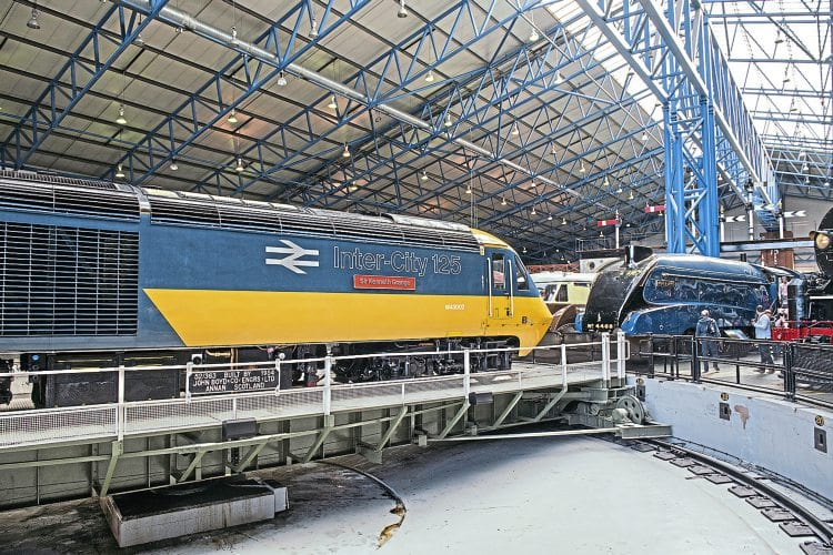 High Speed Train power car No. 43002 Sir Kenneth Grange on the turntable in the Great Hall of the National Railway Museum. GWR
