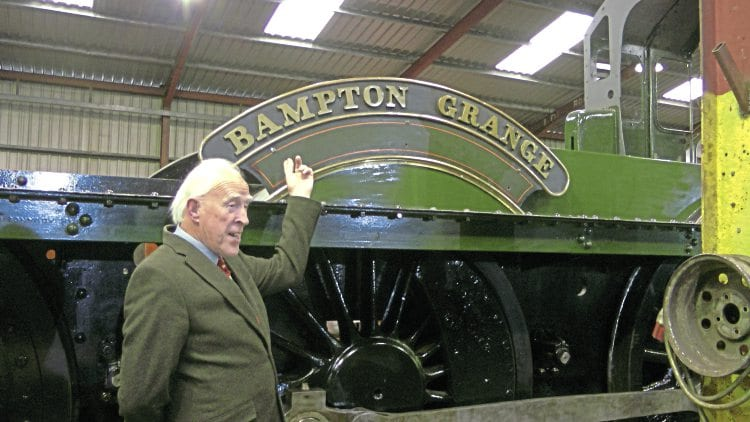 Proud owner Brian Jones sees his original nameplate from No. 6802 Bampton Grange, fitted to Grange frames for the first time since it was withdrawn in August 1961. DAVID HUNTBATCH