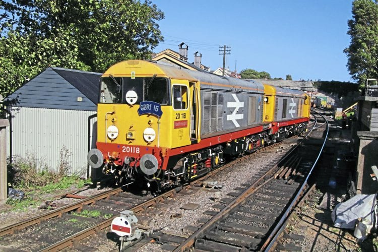 First port of call: GBRf Class 20s Nos. 20118 and 20132 at Swanage on Thursday, September 8. ANDREW P M WRIGHT