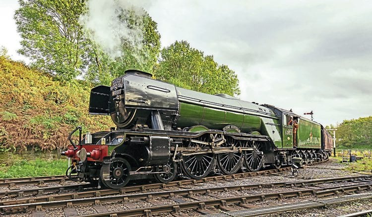 Flying Scotsman at Bury after arriving back on the East Lancashire Railway. ELR