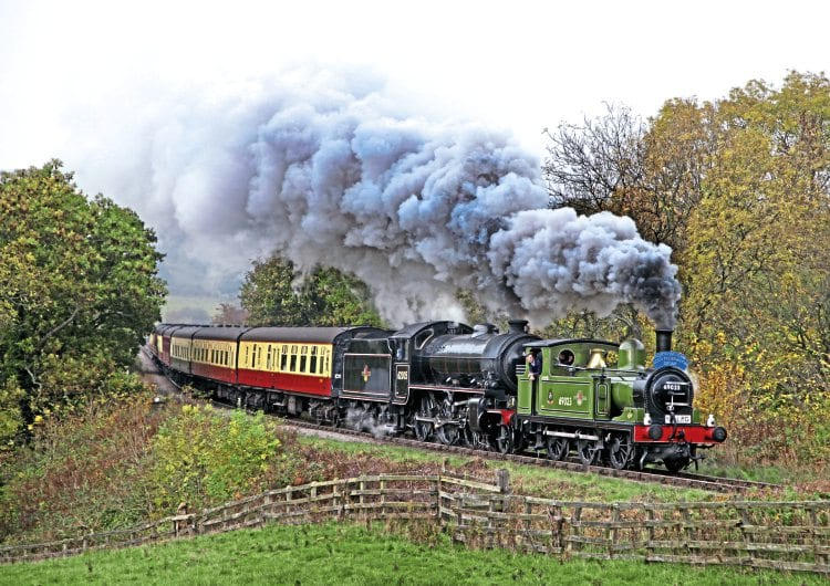 NER J72 0-6-0T No. 69023 pilots K1 No. 62005 past Esk Valley on the 14.12pm Whitby to Pickering on October 30. MAURICE BURNS