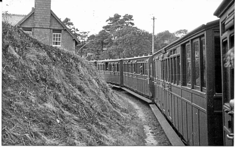 A view of Fairview on Saturday, August 17, 1935, when Manning Wardle 2-6-2Ts Lyn and Exe, which had been heading packed high-season trains, were taking water at Parracombe Halt behind the photographer at the time. HF WHEELER