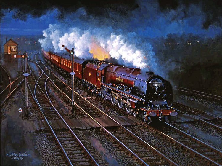 Duchess at night: Visitors to the Guild of Railway Artists Railart 2016 exhibition voted as their favourite this painting by John Austin of LMS Princess Coronation No. 46240 City of Coventry speeding south at Tamworth with a night-time express from Scotland.
