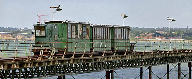 The train which runs over the quarter-mile-long Hythe Pier Railway. HPT&FAG