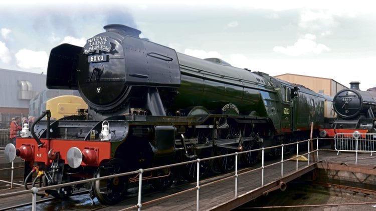 LNER A3 Pacific No. 60103 Flying Scotsman stands on the turntable at Tyseley Locomotive Works. ROBIN JONES