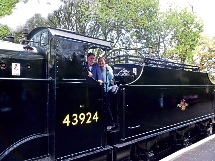 The author and her father Alexander Macdonald on the footplate of No. 43924  in 2011.