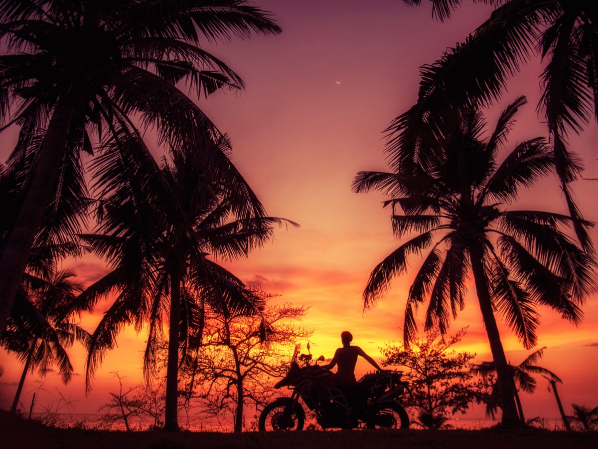 Zofia, motorcycle and a sunset