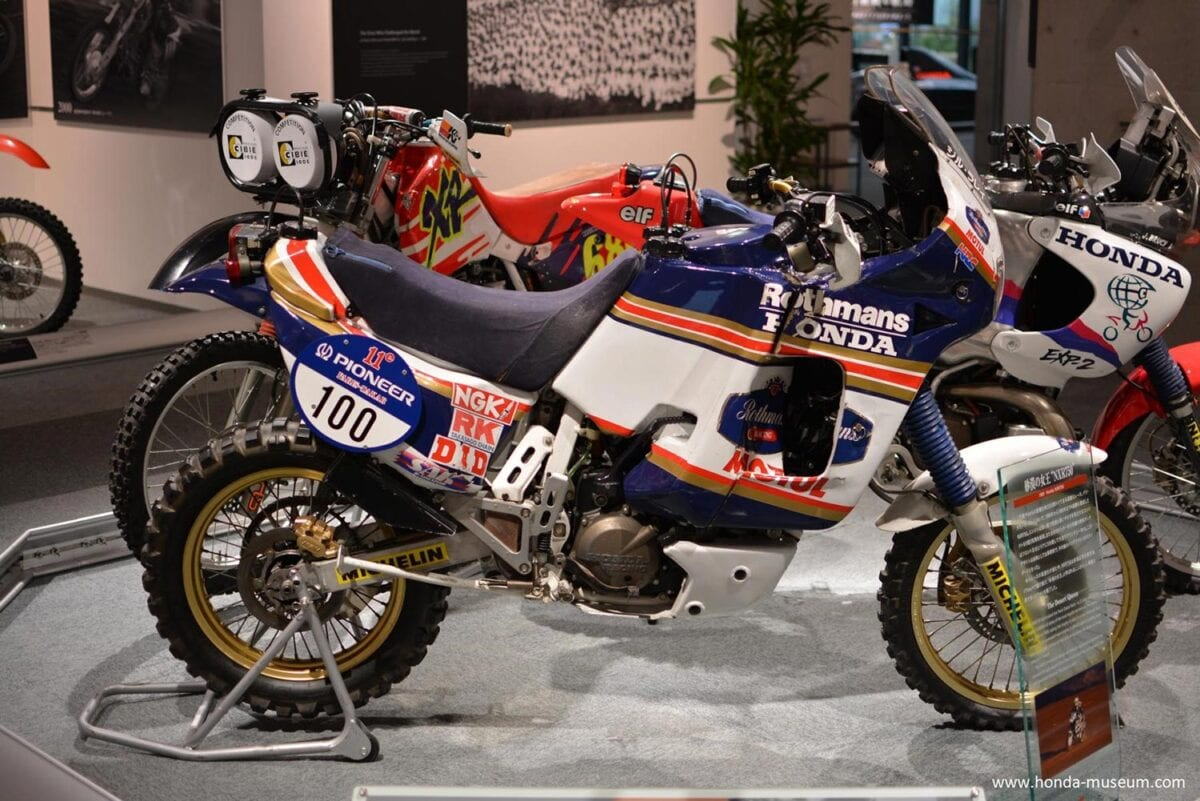 The NXR750 is on display at the Twin Ring Motegi museum in Japan.