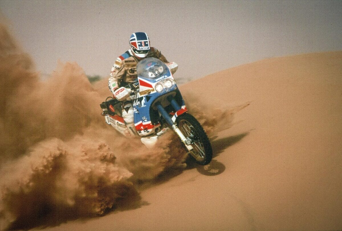 Orioli taking the NXR to its 1988 Paris-Dakar win.