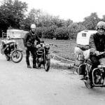 Taking a break from towing Les Orme's stricken 250-cc AJS Model 14 180 miles across France in 1963, the 350cc Norton Navigator is pictured with its original owner, Pete Evans. At the back is Keith Pitcher's 250cc BSA C15.