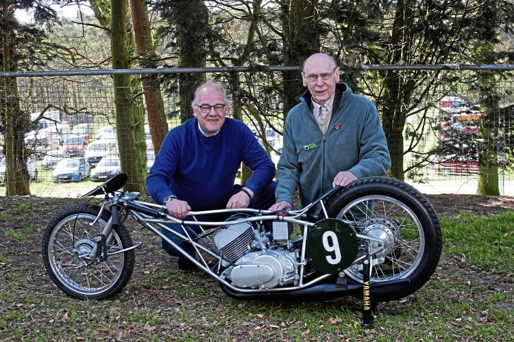 Ferry Brouwer (left) and Des Heckle pose with the Yamaha that, for different reasons, brought joy and frustration to both parties more than 40 years ago.