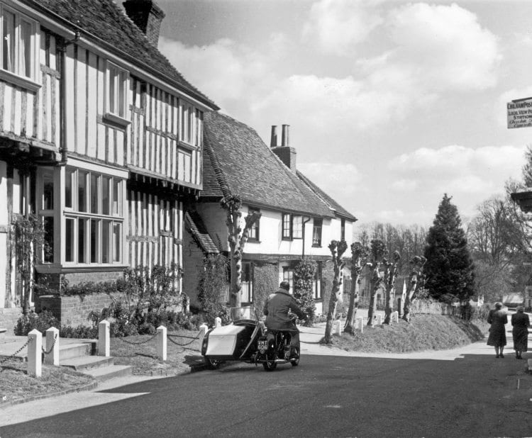 Spring sunshine highlights a picturesque setting for a BSA outfit in Chilham, Kent.