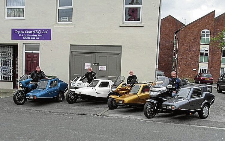 Martello sidecars line up at an owner gathering this year.