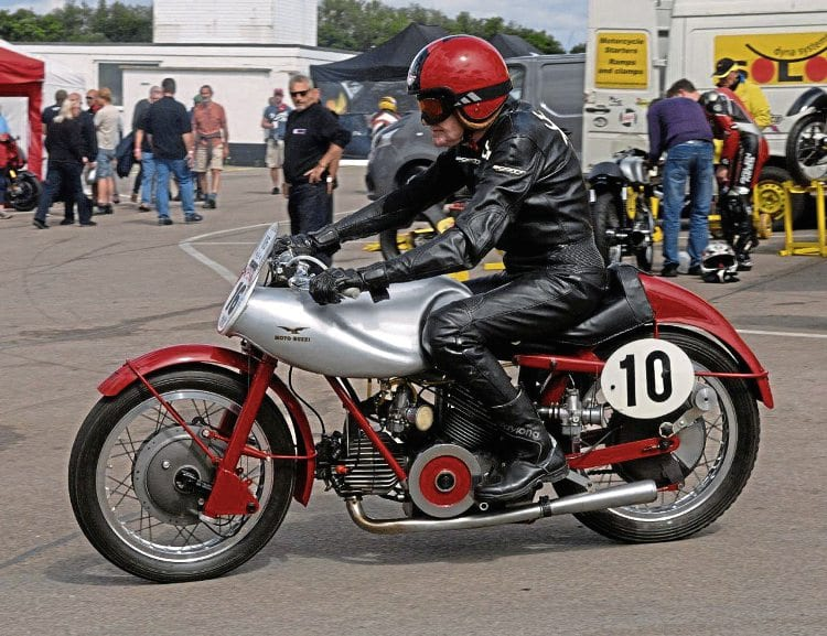 Sammy Miller prepares to demonstrate the 1951 120-degree V-twin Moto Guzzi Bicilindrici.