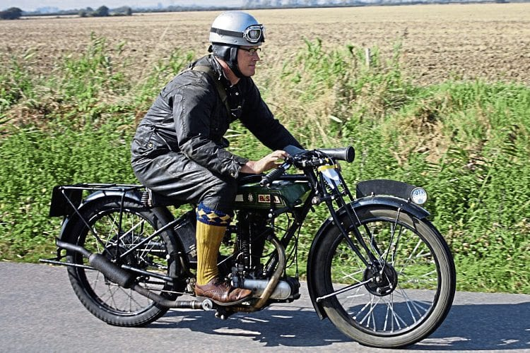 This is the kind of action in store at the Romney Marsh Run, as a BSA entrant presses on across the marshes.