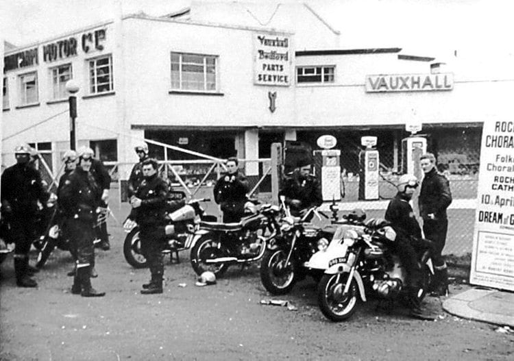 Members of the Medway branch of the Triumph Owners' Club meet by the Chatham Motor Co premises in April 1965, before setting off to the club's annual general meeting at Meriden.