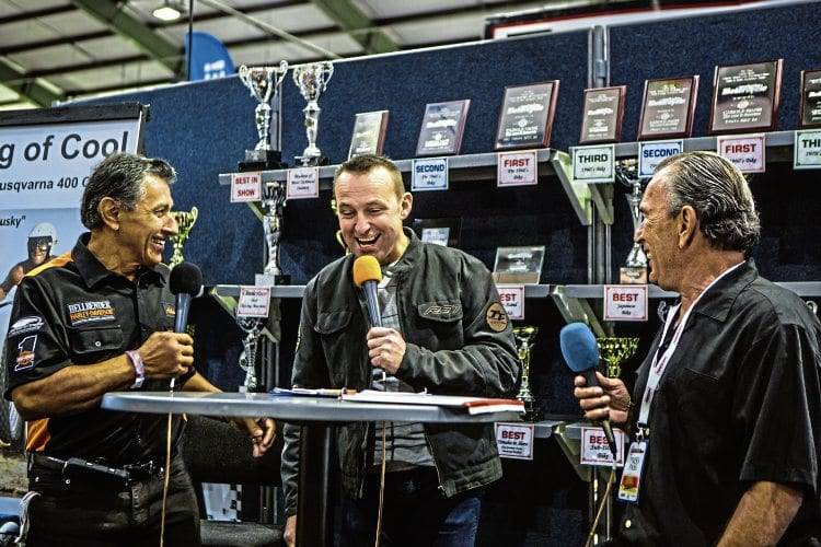 Steve Plater tries (unsuccessfully!) to keep popular guest stars Dave Aldana and Gene Romero on track during their on-stage appearances at the Carole Nash Classic Motorcycle Mechanics Show at Stafford on October 16.