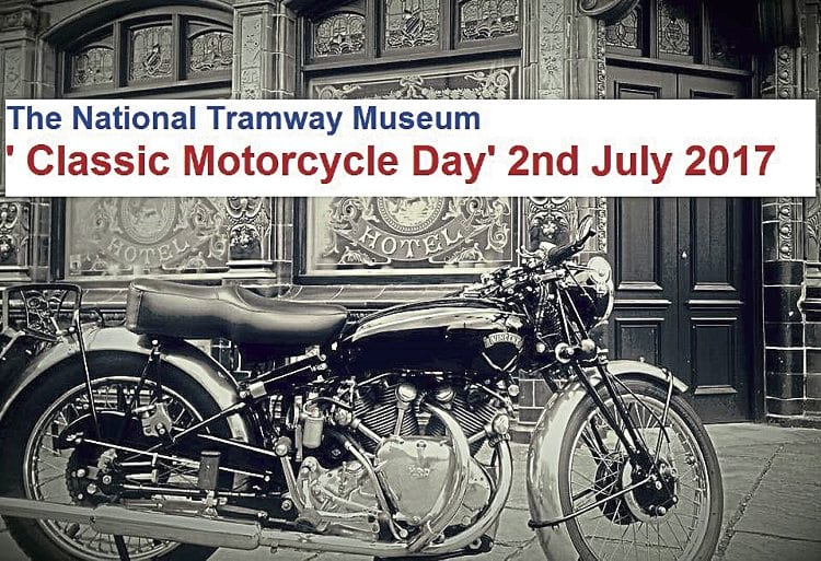 A well-prepared Vincent takes pride of place outside a period hotel at the National Tramway Museum in this flyer for next year's much-anticipated Classic Motorcycle Day.