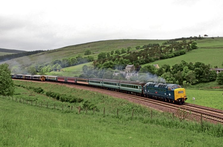 Running well thanks to Bethany and the rest of DPS team, No. D9009 Alycidon passes an Edinburgh-bound DMU in the dynamic loop approaching Stow on the Borders Railway with Pathfinders' 1Z54 Derby to Tweedbank 'Deltic Borderer II' on June 18. Sean White