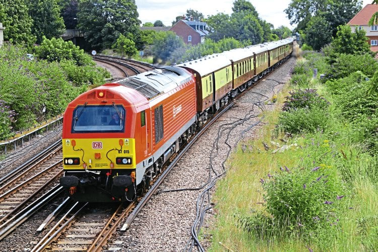 One of the ever-decreasing number of duties for DB Cargo's Class 67s is hauling the British Pullman.  Nos. 67015 and 67018 were thus employed on July 29 top-and-tailing an empty stock move from Chichester to Eastleigh at Havant. The train's passengers had disembarked at Chichester for the Glorious Goodwood racing event. Steve Stubbs