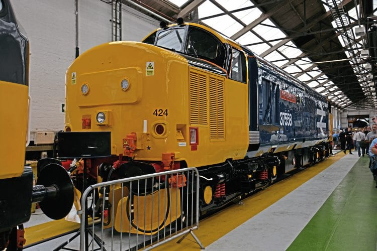 Large logo Type 3 No. 37424 was named Avro Vulcan XH558 at the DRS open day at Gresty Bridge, Crewe, on July 23 (see also Headline News). The loco carries the number 37558 on its bodysides to match, although it remains No. 37424 on TOPS and carries No. 424 on the nose fronts. Brad Joyce