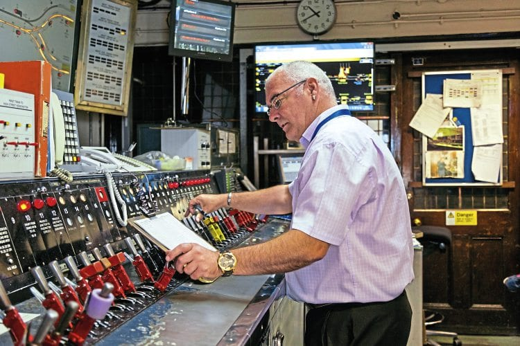 A recent interior view of the signal cabin at the Sub Surface Line station at Edgware Road, which is to be preserved after closure in 2020 TfL