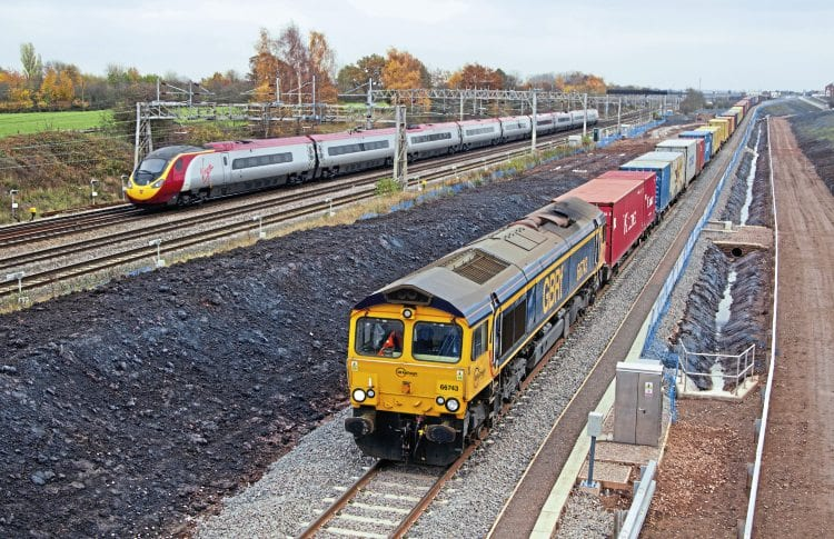 GBRf No. 66743 runs over the Nuneaton North Chord on November 14, 2012, with a Felixstowe to Trafford Park intermodal train, just after the line's formal opening. CHRIS MILNER